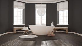 Zen classic spa bathroom with bathtub, minimalist scandinavian i Royalty Free Stock Photography