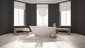 Zen classic spa bathroom with bathtub, minimalist scandinavian i Stock Image
