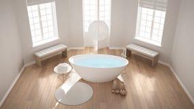 Zen classic spa bathroom with bathtub, minimalist scandinavian i Stock Photography