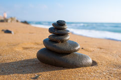 Zen composition on the beach in midday. Greece. Stock Image