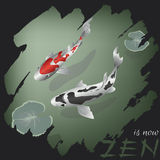 Zen concept design featuring two Japanese koi carps Royalty Free Stock Photography
