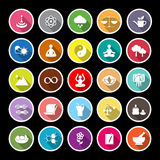 Zen concept flat icons with long shadow Royalty Free Stock Photo