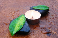 Zen concept with stones and leaves Stock Photography
