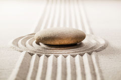 Zen contemplation with asian sand garden Royalty Free Stock Photography