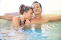 Zen couple in a spa relaxing Royalty Free Stock Photo