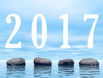 Zen 2017 - 3D render. Zen stones upon water for 2017 new year - 3D render Royalty Free Stock Photos