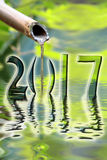 2017, zen dichte omhooggaand van de bamboefontein Stock Afbeelding