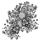Zen-doodle background  with flowers butterflies hearts black on white Stock Photo