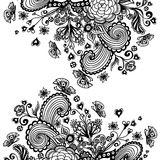 Zen-doodle background  with flowers butterflies hearts black on white Stock Photography