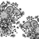 Zen-doodle background  with flowers butterflies hearts black on white Royalty Free Stock Photo