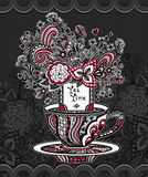 Zen-doodle cup of tea with flowers  red white grey on black background Royalty Free Stock Photo