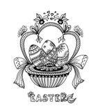 Zen-doodle Easter Eggs in basket   black on white Stock Photos