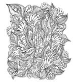 Zen-doodle floral pattern black on white Royalty Free Stock Image