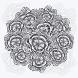 Zen-doodle flowers pattern gathered in circle  black on white Royalty Free Stock Image