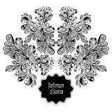 Zen-doodle frame from decoration fishes black on white Royalty Free Stock Photography