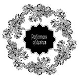 Zen-doodle frame from decoration fishes black on white Royalty Free Stock Image
