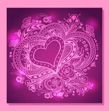 Zen-doodle Heart frame with flowers butterflies  in  lilac  pink. For creative Post Card with Valentines Day or invitation Wedding Stock Image