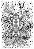 Zen-doodle racket in space black on white. Zen-doodle or  Zen-tangle racket in space black on white  for coloring page or relax coloring book or wallpaper or for Royalty Free Stock Photos
