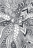Zen-doodle or Zen-tangle texture or pattern with eye  black on white Stock Images