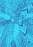 Zen-doodle or Zen-tangle texture or pattern with eye  in blue Stock Image