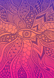 Zen-doodle or Zen-tangle texture or pattern with eye  in lilac orange pink Royalty Free Stock Photo
