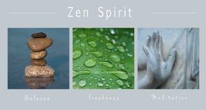 Zen duch - kolaż z tekstem: , równowaga, świeżość i medytacja, royalty ilustracja