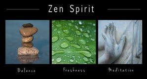 Zen duch - kolaż z tekstem: , równowaga, świeżość i medytacja, ilustracji