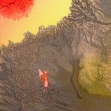 Zen: Een klein kalm bos in het bos bij zonsopgang Royalty-vrije Stock Afbeelding