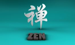Zen en kanji Imagen de archivo libre de regalías