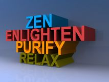Zen and enlighten sign. Tower if colorful words including zen, enlighten, purify and relax Royalty Free Stock Photography