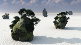 Zen Fantasy Rock Islands Stock Photo