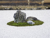 Zen-Felsen-Garten im Ryoanji Tempel, Kyoto, Japan Stockfotos