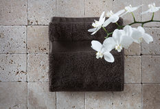 Zen freshness still-life with cotton towel for copy space Stock Photography