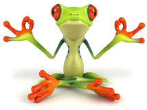 Zen Frog. Cute little frog, 3D generated picture royalty free illustration