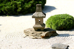 Zen Garden. Karesansui Gardens or dry landscape gardens were influenced mainly by Zen Buddhism and can be found at Zen temples of meditation (Japan Guide) Stock Image