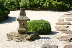 Zen Garden. Karesansui Gardens or dry landscape gardens were influenced mainly by Zen Buddhism and can be found at Zen temples of meditation (Japan Guide) Stock Images