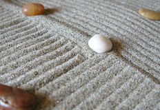 Zen garden. With lines and stones Royalty Free Stock Photography