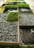 Zen garden. With fountains and pebbles Stock Photo