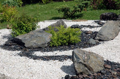 Zen garden. With stones and bushes Royalty Free Stock Image
