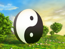 Zen garden. Giant yin yang sculpture in a beautiful garden. Digital illustration Stock Photos