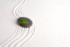 Zen garden. Setup, leaf on stone Stock Image