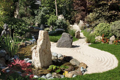 Zen garden. With sand and rocks Royalty Free Stock Photo