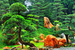 Zen garden. Chinese zen garden with exotic and colorful spring foliage Stock Photography