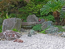 Zen garden. With plants, raked sand and stones stock photo