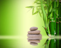 Zen garden. With bamboo, rocks and water Royalty Free Stock Photography