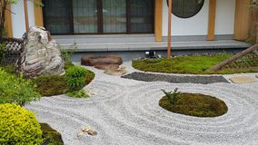 Zen garden and the big stone. royalty free stock image
