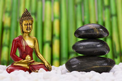 Zen garden with Buddha Stock Image