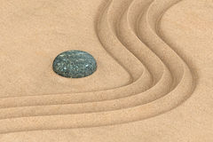 Zen garden, 3D rendering. Zen garden concept with a wave in the sand, 3D rendering vector illustration