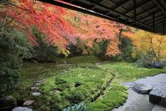 Zen garden at fall season at japan at Rurikoin Royalty Free Stock Images