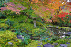 Zen garden at fall season at japan at Rurikoin Royalty Free Stock Photos